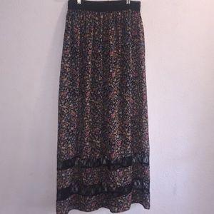 Socialite Floral Black W/ Lace Longer Sheer Skirt